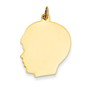 14k Yellow Gold Large .013 Gauge Facing Left Engravable Boy Head Charm Pendant