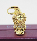 Judith Leiber Lion Leo Charm. New 24k Gold Plated Original Box