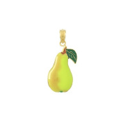 Gold Charm Enamel Comice Pear With Stem & Leaf 2d