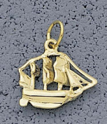 "Small ""Sailboat"" Charm - 10KT Gold Jewellery"