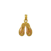 Gold Charm Pink Dotted Enamel Double Flip Flop
