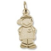 Rembrandt Charms, Boy w/ Baseball Cap Charm, 10K Yellow Gold, Engravable