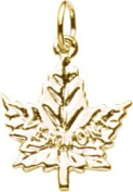 Rembrandt Charms Vermont Maple Leaf Charm, 10K Yellow Gold