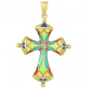 14k Gold Religious Necklace Charm Pendant, Enamel Stained Glass Cross Dome Tips