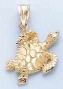 14k Gold Nautical Necklace Charm Pendant, Sea Turtle Textured