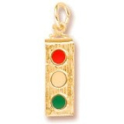 Rembrandt Charms Traffic Light Charm, 10K Yellow Gold