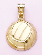 14k Gold Sports Necklace Charm Pendant, Volleyball High Polish