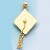 14k Gold Graduation Necklace Charm Pendant, 3d Graduation Cap High Polish & Move