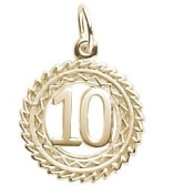 Rembrandt Charms Number 10 Charm, 10K Yellow Gold