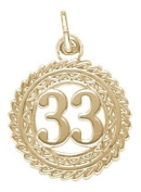 Rembrandt Charms Number 33 Charm, 10K Yellow Gold