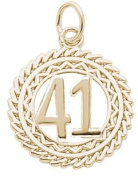 Rembrandt Charms Number 41 Charm, 10K Yellow Gold