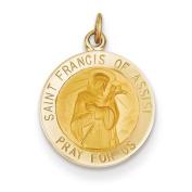 14k Saint Francis Medal Charm - Measures 15.7x20.8mm - JewelryWeb