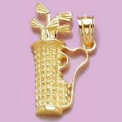 14k Gold Charm Golf Bag Clubs 2d
