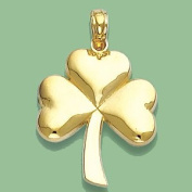 14k Gold Irish Holiday Necklace Charm Pendant, 3-leaf Clover With Stem, High Pol