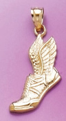 Gold Sports Charm Pendant Running Shoe W Wings & Textured