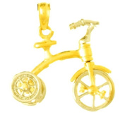 14k Gold Novelty Necklace Charm Pendant, 3d Tricycle With Moveable Handlebars Wh