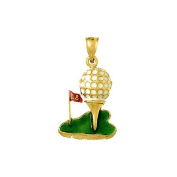 Gold Enamel Misc Charm Pendant Golf Ball On Tee W Enamel