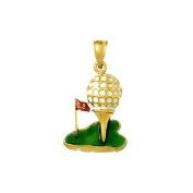 Gold Enamel Misc Charm Pendant Golf Ball On Tee W Enamel