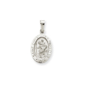 14K White Gold Saint Christopher Medal Pendant