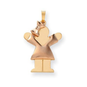 14k Two-Tone Puffed Girl With Bow On Left Engravable Charm