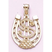 Gold Misc Charm Pendant Dollar Sign In Horseshoe High Polish