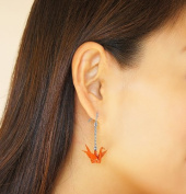 Japanese lacquer art Folded paper crane earrings