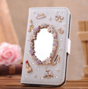 EVTECH(TM) GEM Series Luxury Crystal Diamond Bling Design PU Leather Wallet Cover Case