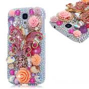 EVTECH(TM) 3D Handmade Crystal Pink Butterfly Flower Pearl Rhinestone Heart Diamond Bling Cover Hard Case for