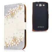 EVTECH(TM) Bling Crysta Flower Rhinestone Design Leather Wallet Type Magnet Design Flip Case Cover for Samsung Galaxy S3 I9300 T-Mobile T999 L710 Sprint/T999 T-Mobile/i747 AT & T/i535 Verizon