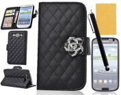 Tradekmk(TM)Bauhinia Flower Magnet Leather Wallet Case Cover with Credit Cards Slots/Stand Function For Samsung Galaxy S3 i9300(Black), with Stylus Pen,Screen Protector and Cleaning Cloth