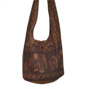 Hippie Elephant Sling Crossbody Bag Shoulder Bag Purse Thai Top Zip Handmade New Colour : Dark Brown