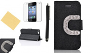 OMIU(TM) Luxury Big C Bling Rhinestone Buckle Silk Pattern Stand Leather Case Cover Fit for Apple iPhone 4 4S(Black), With Credit Cards Slots, Screen Protectors, Stylus and Cleaning Cloth