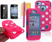OMIU(TM) Colourful Hybrid Silicone With Dot Case Cover Protector For iPhone 4 4S(Pink with Blue), With Screen Protector, Stylus and Cleaning Cloth