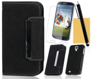 OMIU(TM) Two-in-One Style Leather Case Cover Fit For Samsung Galaxy S4 i9500(Black), With Credit Cards Slots, Screen Protector, Stylus and Cleaning Cloth