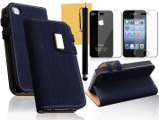 OMIU(TM) Squirrel Print Surface Leather Case Cover Fit For iPhone 4 4S(Dark Blue), With Credit Cards Slots, Screen Protector, Stylus and Cleaning Cloth