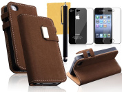 OMIU(TM) Squirrel Print Surface Leather Case Cover Fit For iPhone 4 4S(Dark Brown), With Credit Cards Slots, Screen Protector, Stylus and Cleaning Cloth