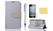 OMIU(TM) Luxury Wallet Flip Magnetic Glitter Coated Bling Rhienstones Diamonds Leather Case Cover for Apple iPhone 5 5S(Silver), with Screen Protector, Stylus and Cleaning Cloth