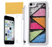 Tradekmk(TM) Unique White Frame Crystal Rhinestones Hard Back Case Cover Protector Fit For iPhone 5C(Triangle Pattern), with Stylus Pen,Screen Protector and Cleaning Cloth