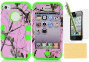 XIANA Autumnal Scenery Tree Branch Hybrid Hard Back Case Silicone Skin Slim Fit For iPhone 4 4S(Green),Including Stylus,Screen Protector and Cleaning Cloth
