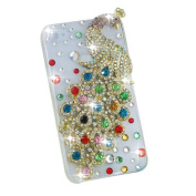 3D Colourful Flash Handmade Peacock Bling Crystal Case Cover for Iphone 4 4s 4g