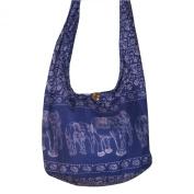 Hippie Elephant Sling Crossbody Bag Shoulder Bag Purse Thai Top Zip Handmade New Colour : Blue.