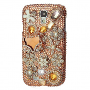 EVTECH(TM) 3D Handmade Rhinestong Series Crystal Diamond Rhinstone Design Bling Case Clear Cover for Samsung Galaxy S4 9500 9505 M919,SCH-R970X,Samsung Galaxy S4 C Spire,Samsung Galaxy S4 AT & T