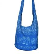 Hippie Elephant Sling Crossbody Bag Shoulder Bag Purse Thai Top Zip Handmade New Colour : Sky Blue.