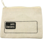 HomArt Canvas Zipper Coin Bag with Logo, White
