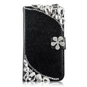 EVTECH(TM) Bling Crystal Flower Rhinestone Fashion Leather Wallet Type Magnet Design Flip Luruxy Case Black Cover for Samsung Galaxy S4 S Iv SIV S 4 Iv Gt-i9500