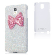EVTECH(TM) New 3D Handmade Luxury Hot Pink Bow Bling White Cover Hard Case Clear for Samsung Galaxy Note 3 Note III N9000 Pink Crystal Cat with Flexible Head/ Cell Charms / Dust Plug / Ear Jack
