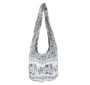 Hippie Elephant Sling Crossbody Bag Shoulder Bag Purse Thai Top Zip Handmade New Colour White 01