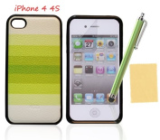 OMIU(TM) Unique Green Rainbow Hard Back Cover Case Fit For Apple iPhone 4 4S, With Screen Protectors, Cleaning Cloth and Stylus Pen