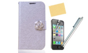 Nccypo Quality PU Leather Carrying Wallet Case Cover with Credit Cards Holders/ Stand Viewing Function Fit for iPhone 4 4S(Silver), Beautiful Bling Flower Rhinestone Closure, With Screen Protectors, Stylus and Cleaning Cloth