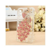 Diamond Luxury Clear Pink Peacock Protector Case for Iphone 4 & 4s, 3d Peacock Diamond